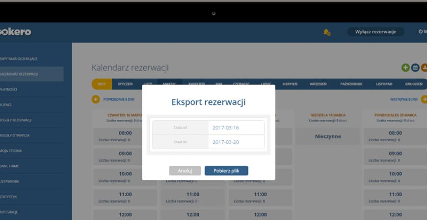 Eksport listy rezerwacji nową funkcją w Bookero